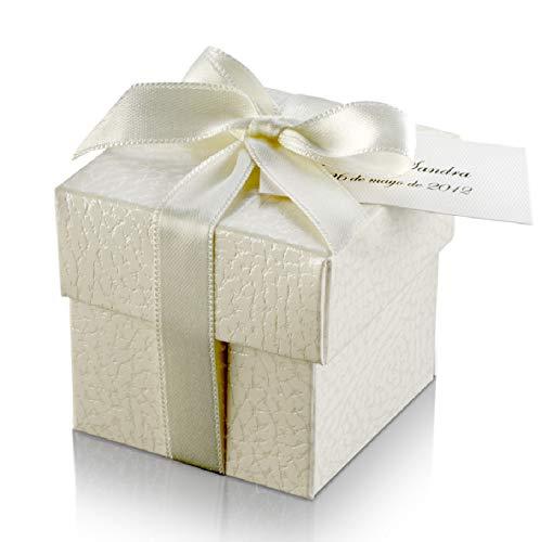 10 Cajitas regalo cuadradas color blanco roto 5x5x5 cm. relieve piel con tapa sin montaje ni contenido con cinta para el lazo y tarjeta para boda primera comunión bautizo pequeños regalitos