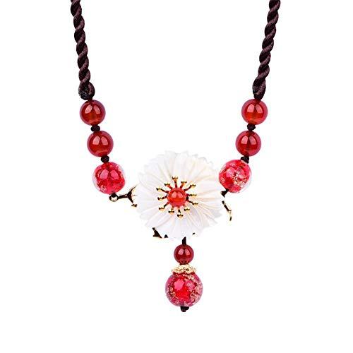 MDHANBK Collar de Mujer Cristal Rojo Gargantillas con clavícula Joyas Fiesta