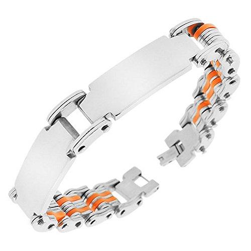 Mijn dagelijkse stijlen roestvrij staal zilverkleurige oranje naam tag link ketting heren armband met gesp
