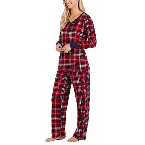 Nautica Women's 2 Piece Fleece Pajama Sleepwear Set (Red, XXL)