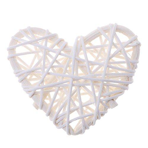 Starnear 5 stks hart vorm rotan bal handgemaakte vaas vulmiddel rotan twig bal kerstboom sieraad bruiloft verjaardag partij decoratie decoratieve ambachten 6.00 * 6.00 * 10.00 Kleur: wit