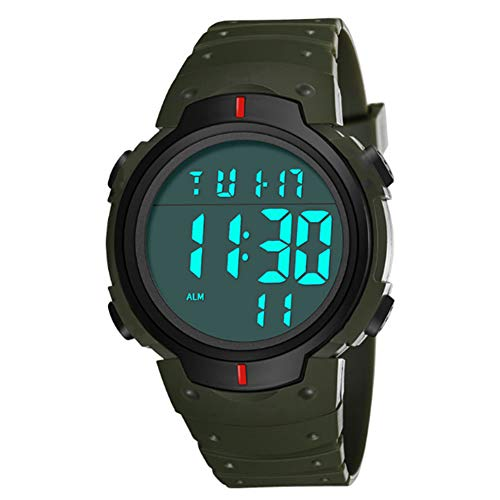 vigilanza degli uomini, mxdmai uomini di modo di sport LED Digital Orologi militari schermo grande faccia e impermeabile casuale luminoso cronometro colto facile Guardare per Studenti 1Pc Verde