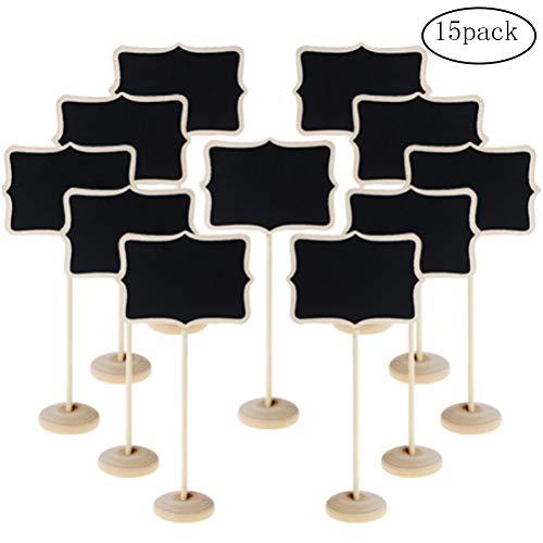 ofoen - Mini pizarra de tiza de Sumaju de madera con forma de lazo, con soporte vertical, uso para mensajes, etiquetas, tarjetas, paquete de 15