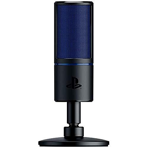 Razer Seiren X para PlayStation Micrófono de condensador USB para transmisión en PS4 y PS5, compacto con amortiguador, patrón de grabación supercardioide, botón de silencio, negro-azul