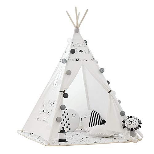 Teepee Tent para niños Algodón plegable impresiones de la fotografía de los niños apoyos tiendas cónicas interiores y exteriores con bolsillos ventana colchón Juguetes de interior y al aire libre de l