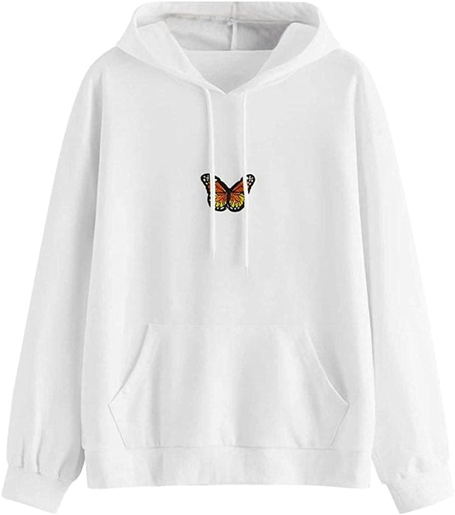 Hoodies for Women,Women Hooded Sweatshirts Women's Cute Butterfly Printed Long Sleeve Hoodies Casual Pullover Tops