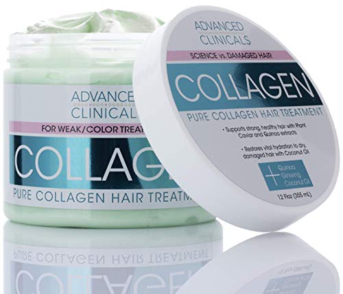 Advanced Clinicals Collagen Hair Treatment Mask Protein Deep Conditioner to Strengthen Broken, Color-Treated Hair Fortifying Repair Mask with Quinoa and Coconut Oil Restores Weak Hair (12 Oz)