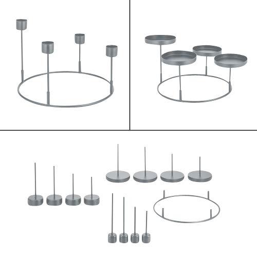 3 in 1 Kerzenhalter für Adventskranz aus Metall zum Dekorieren - Für 4 Stabkerzen, Stumpenkerzen und Teelichter in Silber, Grau