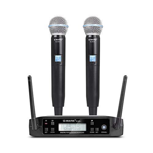 Funkmikrofon set G-MARK GLXD4 Professionelles dynamisches drahtloses Dual Mikrofon für Party DJ Kirche Hochzeit Meeting Unterricht 80 Meter
