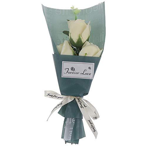 Mooie 3Heads nam Boeket Soap Flower Mother's Day Gift Mini Bouquet Verjaardagscadeau Decor Kunstbloemen,Champagne