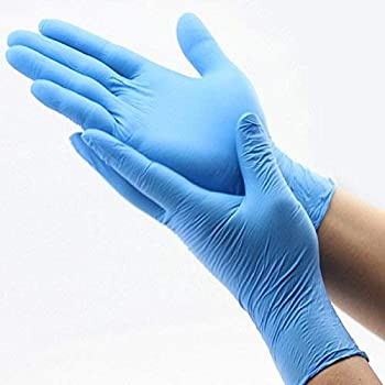 Hand Pro Synthetic Nitrile Powder-Free Hand Gloves - Pack of 100 (Blue/White, Large)