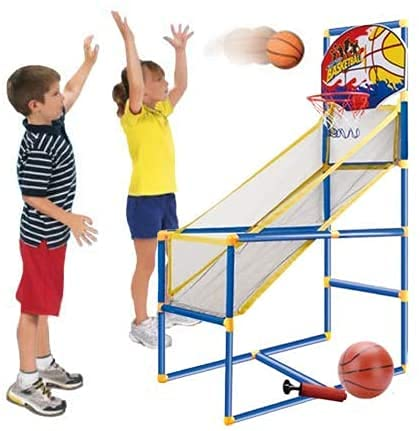 PLUSPOINT Exclusive Range of Sportz Games for Kids Basketball Hoop Arcade Game, with 1 Balls - Mini Indoor Toy Basketball Shooting System, for Toddlers and Children and Fun for All Ages - Kids Toys Sports Game for Boys and Girls Ages 2-15 (Basket Ball With Stand)