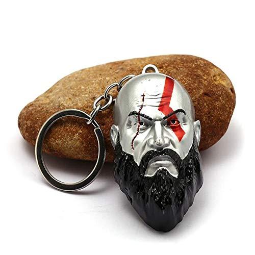 Inveroo Gott des Krieges 4 Schlüsselanhänger Kratos Axt Schlüsselanhänger Schwert Olympus Kratos Kopf Schädel Waffen Metall Schlüsselanhänger Männer Llavero