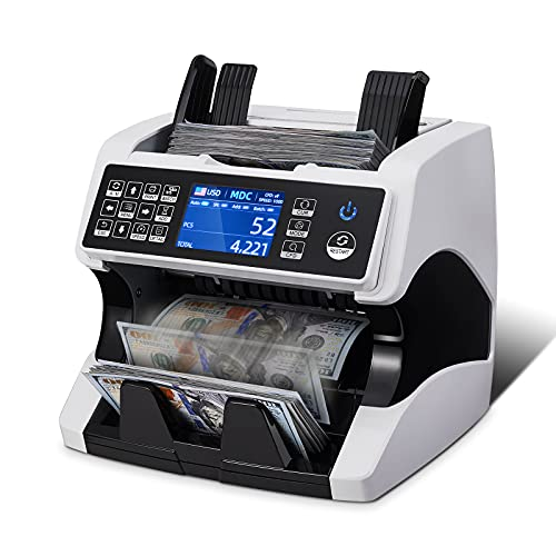 MUNBYN Bank Grade Money Counter Machine Mixed Denomination, Value Counting, Serial Number, Multi Currency, 2CIS/UV/IR/MG/MT Counterfeit Detection,...