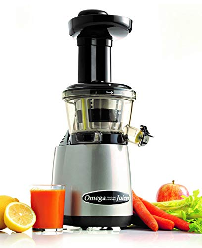 Omega VRT400HDS Vertical Slow Masticating Juicer Makes Continuous Fresh Fruit and Vegetable Juice at 80 Revolutions per Minute Features Compact Design Automatic Pulp Ejection, 150-Watt, Silver