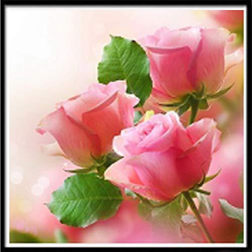 Pintura de diamante 5D DIY paisaje flor color rosa bordado de diamantes hecho a mano kit de punto de cruz pintura decorativa A6 30x30cm