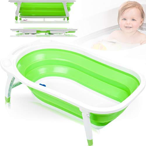 Baby Badewanne/Reisebadewanne mit Verschlus-Thermometer (ZUSAMMENKLAPPBAR) (GRÜN)