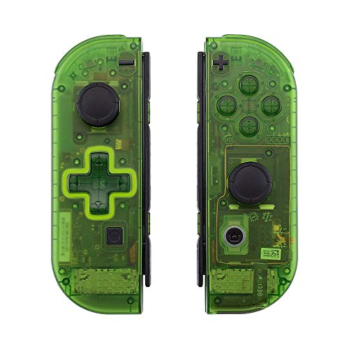 eXtremeRate Transparent Clear Green Joycon Handheld Controller Housing (D-Pad Version) with Full Set Buttons, DIY Replacement Shell Case for Nintendo Switch Joy-Con – Console Shell NOT Included
