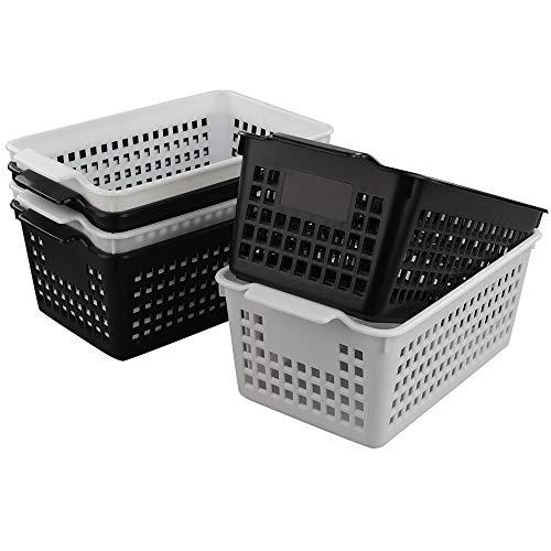 Hokky 6 Stück Aufbewahrungskorb klein Kunststoff, körbchen aus plastik, Weiß, Schwarz