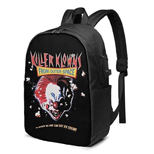 Lawenp Killer Klowns from Outer Space Fashion Printed USB Backpack 17 Inch Shoulder Bag Laptop Bag Fashion Rucksack Black