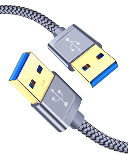 JSAUX Cable USB A a USB A【1M+2M/2Pack】,Cable USB 3.0 Tipo A Macho a Tipa A Macho para Computadoras, Cámaras, Parlantes de Automóvil Bluetooth, Monitores etc-Gris
