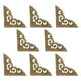 Tiazza 8 piezas vintage de latón antiguo protector de esquina, caja de regalo de madera, caja de regalo para gabinete de pecho, protector de esquinas protector de borde plano (bronce antiguo)