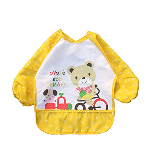 Vollter Infant unisex del bambino impermeabile del bambino maniche Bib Pocket Animals pattern