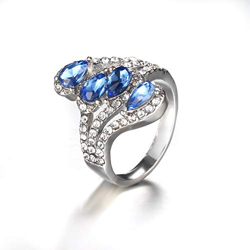 Couple Ring Personality Creative Blue Zircon Ring European And American Sapphire Blue Water Drop Micro-Inlaid Ring 7