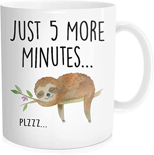 Thorea Funny Sloth Cup, Just 5 More Minutes Coffee Mug, Cute Tea Lazy Gift For Her Him, Birthday Christmas, 11 OZ White Ceramic