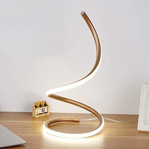 Lámparas de noche en espiral de LED, 15 W, protección de los ojos, color blanco cálido, regulable, lámpara de pie, lámpara de escritorio, lámpara decorativa para dormitorio moderno