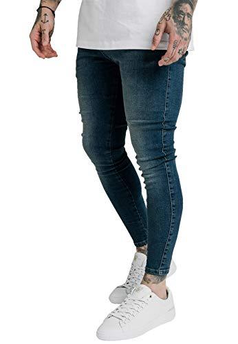 Sik Silk Pantalones vaqueros ajustados para hombre SS-19350 Midstone azul XS