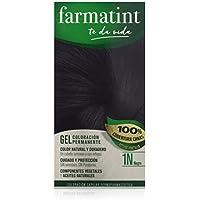 Farmatint Gel 1N Negro | Color Natural y Duradero | Componentes Vegetales y Aceites Naturales | sin Amoníaco | sin Parabenos | Dermatológicamente Testado