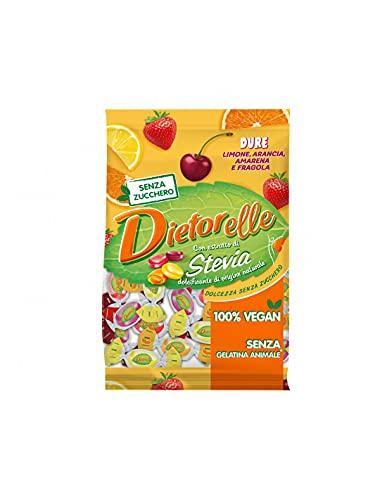 Dietorelle - Caramelle Dure Ripiene Vegan Mix, Senza Zucchero e Senza Gelatina Animale - Sacchetto da 140 gr