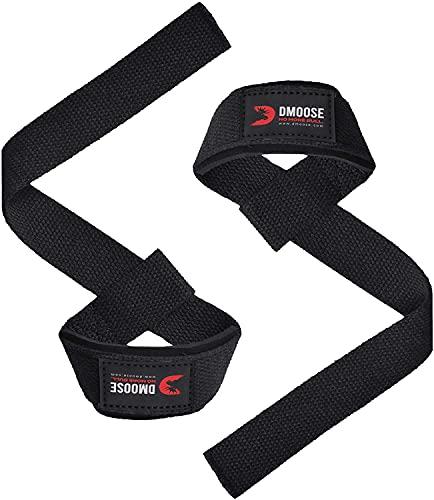 DMoose - Cinghie da Polso per Sollevamento Pesi, Crossfit, Bodybuilding, Powerlifting, con Supporto Imbottito in Neoprene Morbido per Allenamento di Forza e Deadlifts...