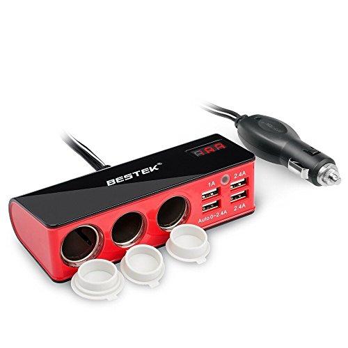 BESTEK シガーソケット usb 充電器 ソケット 3連 USB 4ポート シガーライター対応可能 電圧・電流測定機能搭載 12V/24
