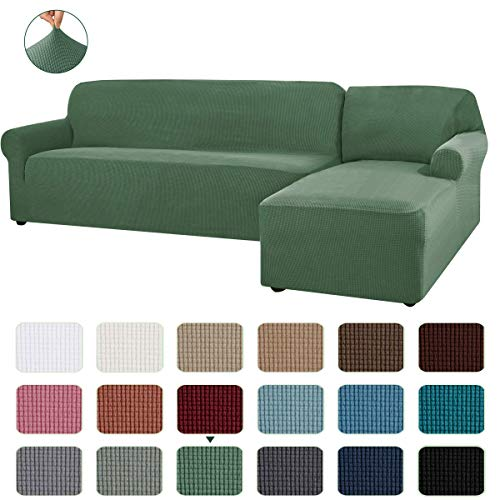 CHUN YI 2 Pieces L-Shaped Right Chaise Jacquard Polyester Stretch Fabric Sectional Sofa Slipcovers Dust-Proof L Shape Corner 2 Seats Sofa Cover Set for Living Room (Dark Cyan)