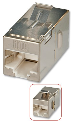 Lindy Cat.6A 10G Premium RJ45 STP Inline Coupler/Doppelkupplung RJ45 f - Adaptador para Cable (RJ45 f, RJ45 f, Female Connector/Female Connector)