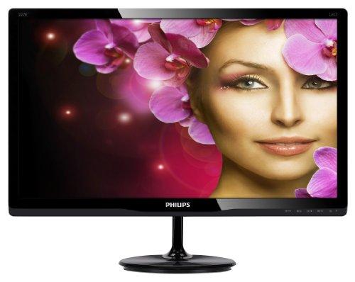Philips 227E4LSB /227E4L 22-Inch Screen LED Monitor, 1920x1080 Resolution, 250cd/m2 Brightness, Wide Viewing Angle, VGA/DVI