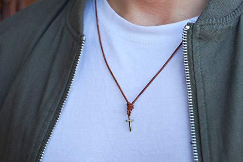 Kreuzkette Herren Halskette Surfer Kette mit Kreuz Anhänger - Made by Nami Handmade - aus Leder - Braun