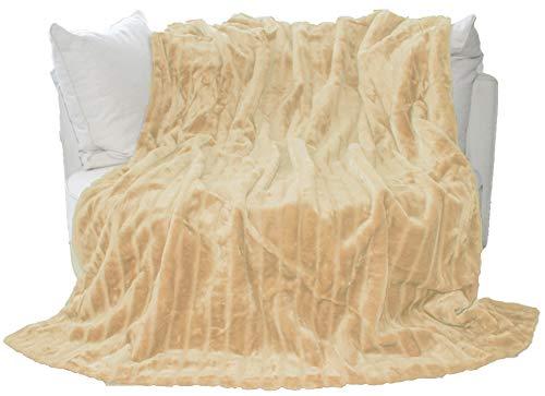 AURO Housse de coussin effet fourrure 200 x 150 cm Light Brown