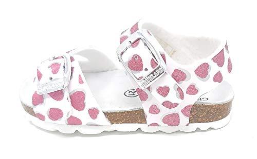 Grunland Aria SB1535-40 Sandalo Bianco con Cuori Glitterati (Numeric_24)