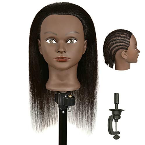 RONGFUHAIR Mannequin Head 100% Human Hair Hairdresser Training Manikin Cosmetology Doll Head with Stand