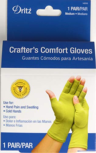 Dritz Supports During Crafting, Quilting, Sewing, Knitting, Household Duties Crafters Comfort Glove-Medium, Kiwi Green