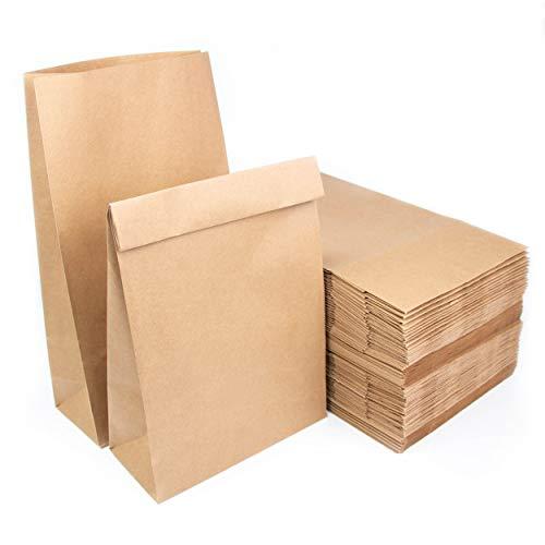 Lote de bolsas de bolsa de papel Kraft sin asa 34,5x20x9cm Bolsas reciclables para alimentos u objetos (100)