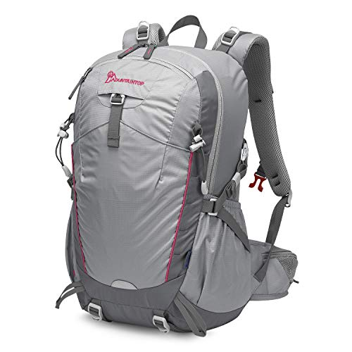 MOUNTAINTOP 35L Zaino Trekking Outdoor Multifunzione Zaino per Uomo Donna da Escursionismo Campeggio Viaggio Zaini con Copertura della Pioggia, Grigio Chiaro