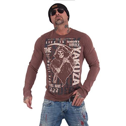 Yakuza Herren Life is Short Longsleeve T-Shirt, Coffee Bean, 4XL