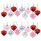 iBaste Adornos en forma de corazón – 24 piezas de corazón Ornamento bola colgante día día de San Valentín joyas Familienfeier Set
