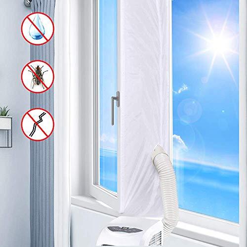 ASANMU Fenster Klimaanlage Abdichtung, 300cm Fensterabdichtung für Mobile Klimageräte, Abluft-Wäschetrockner, Bautrockner, Luftentfeuchter, AirLock zum Anbringen an Fenster, Dachfenster Flügelfenster