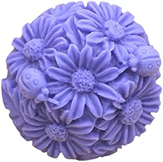 Silicone Mold 3D Ball-Flower, Daisy Flowers Shape Craft Art Silicone Soap Mold, Blooming Chrysanthemum Molds DIY Soap Mold...