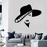 Ajcwhml Cool Woman Hat Tatuajes de Pared salón Girl Series Mural de Pared Arte Especial Mural extraíble Hermosos Labios decoración de la habitación de la niña - 57X64CM-57X64CM